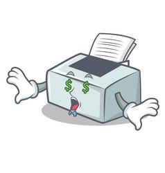 Money eye printer mascot cartoon style vector