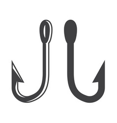 Monochrome metal fishing hooks template vector