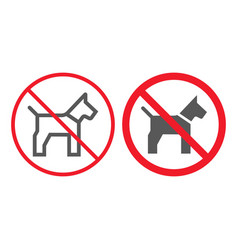no dog line and glyph icon prohibition vector image