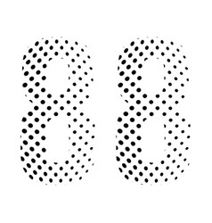 Number eighty-eight 88 in halftone dotted vector