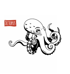 Octopus black and white vector image
