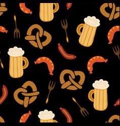 oktoberfest pretzels beer sausage pattern vector image