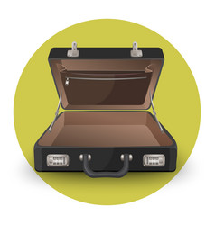 open briefcase or suitcase with inside pocket on vector image