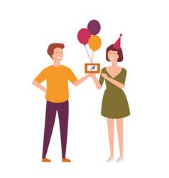 pair joyful friends celebrating birthday man vector image