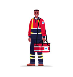 Paramedic semi flat rgb color vector