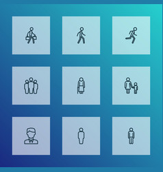 people icons line style set with group child old vector image