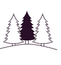Pine trees landscape set on dotted monochrome vector