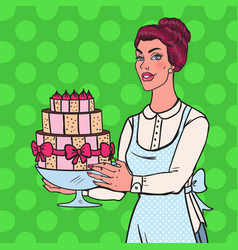 pop art chef with delicious cake housewife vector image