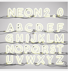 realistic neon alphabet with wires vector image