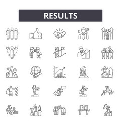Results line icons signs set linear vector
