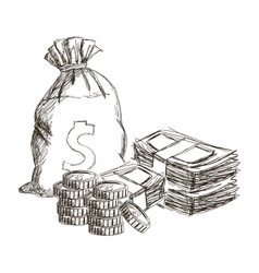 sack or money bag stach cash coins currency dollar vector image