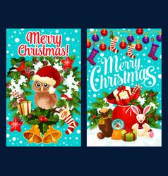 santa gift bag and christmas wreath greeting card vector image