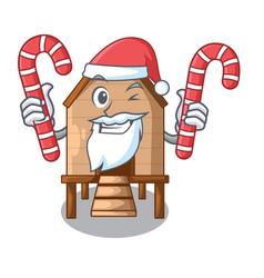 Santa with candy chicken in a wooden cartoon coop vector