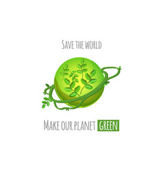 Save the world green planet concept vector