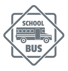 School bus logo simple gray style vector