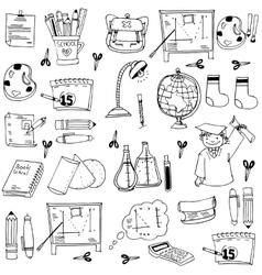 School education doodles element pencil book bag vector image