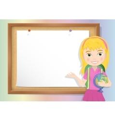 Schoolgirl and cork board with paper vector image