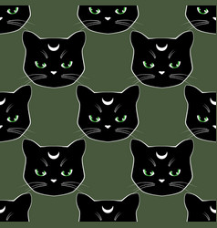 seamless pattern background with black cat faces vector image