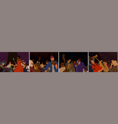 set cartoon diverse musicians playing vector image