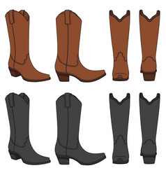 set color with cowboy boots vector image