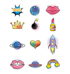 set cute patch style fashion decoration vector image