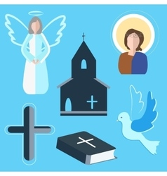 Set icons angel cross dove church vector image