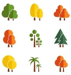 Set of autumn trees vector