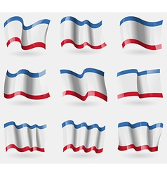 Set of Crimea flags in the air vector