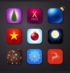 Set of icons stylized like mobile app vector image
