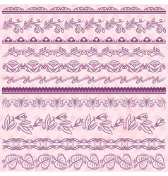Set of Lace Paper with flower over pink background vector