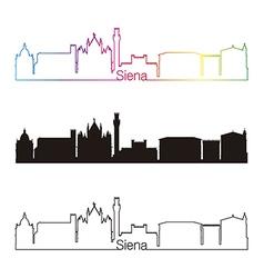 Siena skyline linear style with rainbow vector