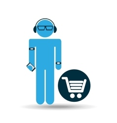 silhouette wearable technology shopping vector image