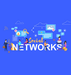social networks people sitting on big letters vector image