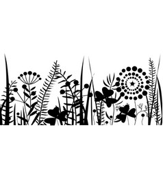 spring black grass silhouette seamless pattern vector image