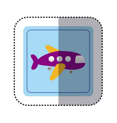sticker square button cartoon jet airplane vector image