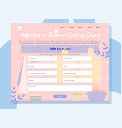 Summer cooking school online registration banner vector
