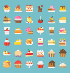 Sweets and dessert icon set flat style vector