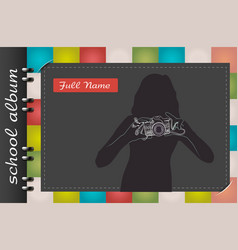Template of a school album photograph vector