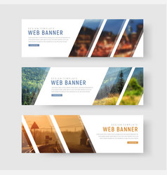 template of white web banners with diagonal vector image