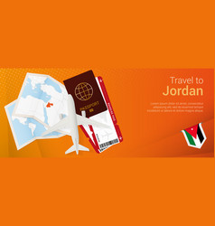 Travel to jordan pop-under banner trip banner vector