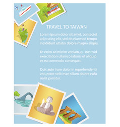 Travel to taiwan informative card with photos vector
