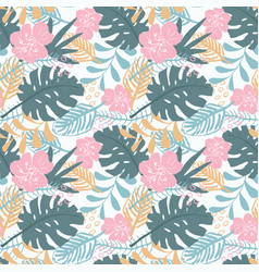 Tropical plants seamless pattern exotic natural vector