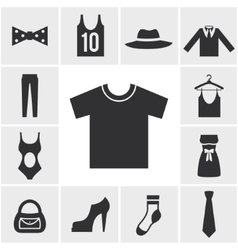 Various Monochrome Clothing Themed Graphics vector image