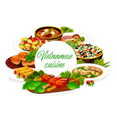 Vietnamese cuisine vegetables rice fish and meat vector