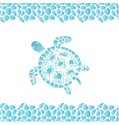 Water turtle hand drawn frame pattern from sea vector
