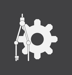 White icon on black background gear and tool vector