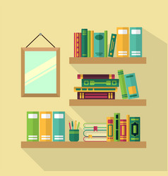 Wood bookshelf in library with different books vector