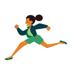 Young woman in sportswear running in flat cartoon vector