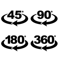 45 90 180 and 360 degrees view sign icons vector image