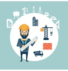 Architect looking for construction vector image vector image